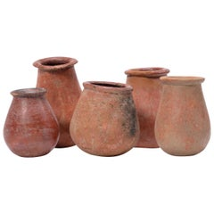 Set of Five Petite African Redware Vessels