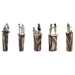 Set of Five Pieces in Porcelain and Gold, Alex Hodge