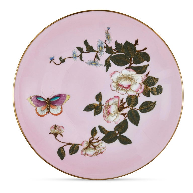 Set of Five Pink Royal Worcester Plates with Japonisme Decoration In Good Condition For Sale In London, GB