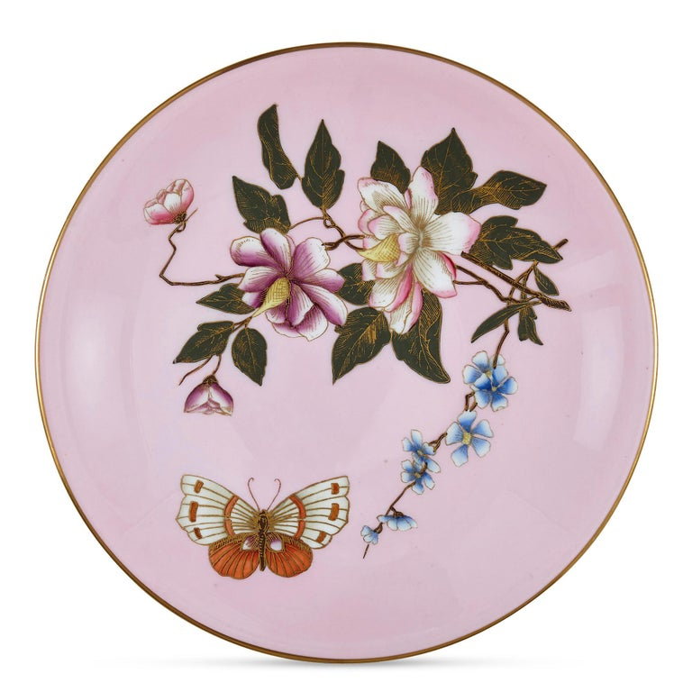 20th Century Set of Five Pink Royal Worcester Plates with Japonisme Decoration For Sale