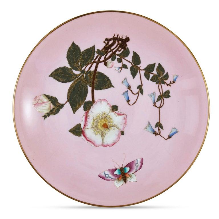 Porcelain Set of Five Pink Royal Worcester Plates with Japonisme Decoration For Sale
