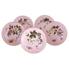 Set of Five Pink Royal Worcester Plates with Japonisme Decoration