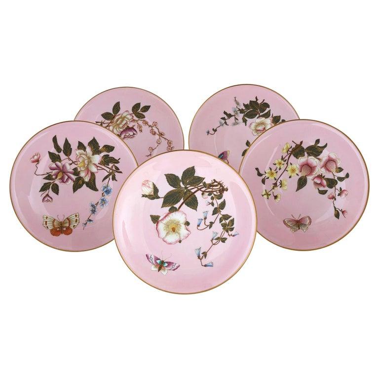 Set of Five Pink Royal Worcester Plates with Japonisme Decoration For Sale