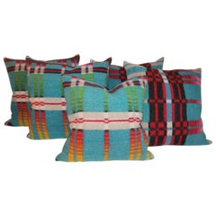 Set of Five Plaid Horse Blanket Pillows