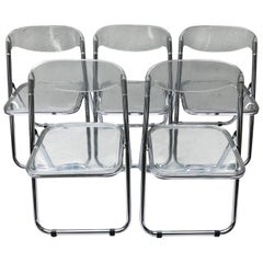 Set of Five Plia Folding Lucite Chairs in the style of Giancarlo Piretti