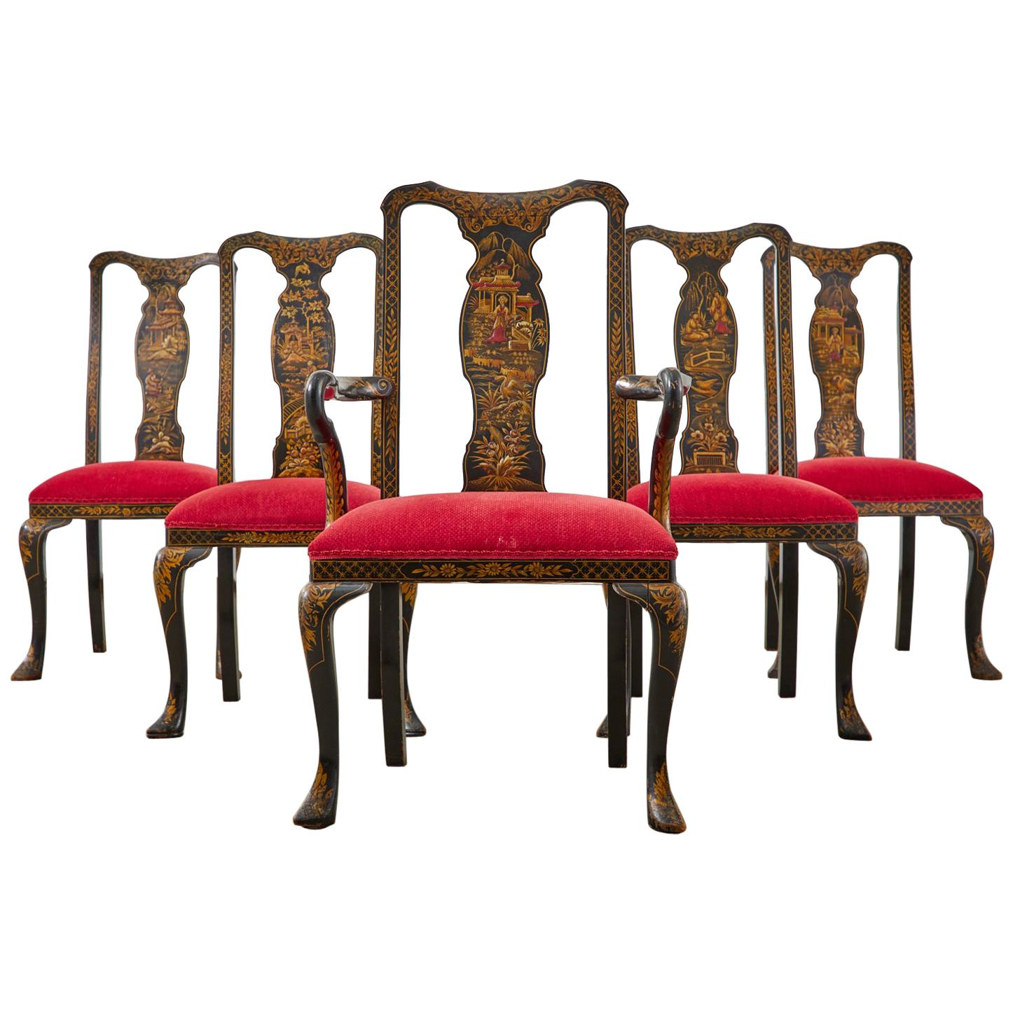 Set of Five Queen Anne Style Chinoiserie Lacquered Dining Chairs
