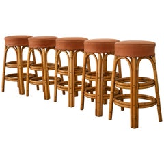 Set of Five Rattan Barstools, 1950s