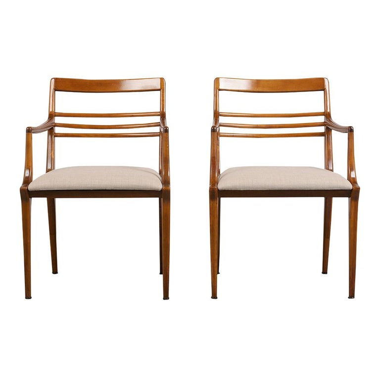 Mid-Century Modern Set of Five Renzo Rutili Dining Chairs For Sale