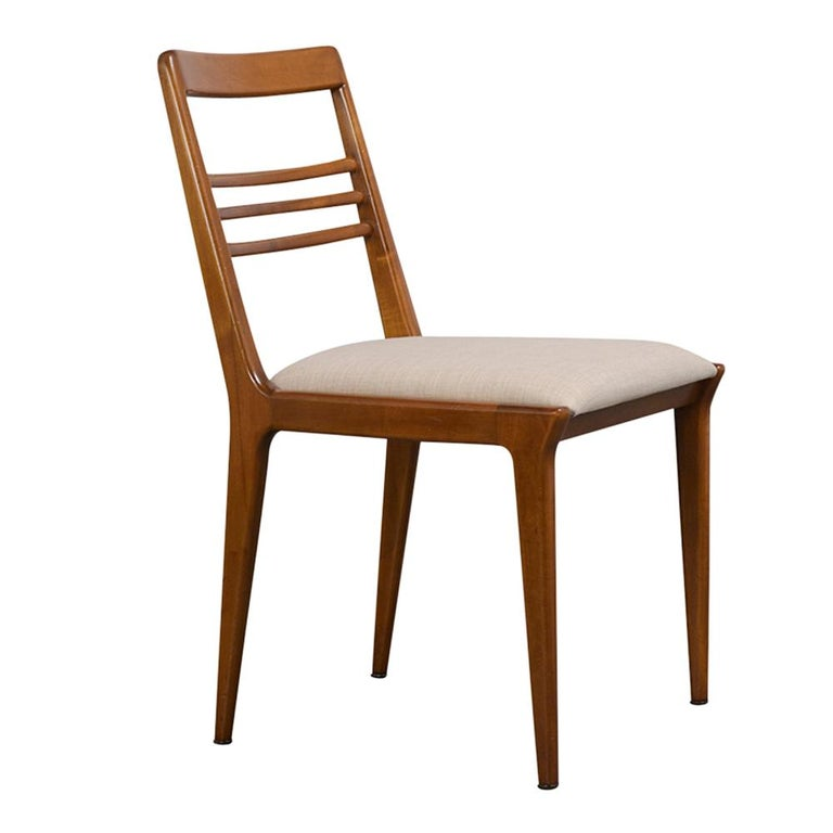 Fabric Set of Five Renzo Rutili Dining Chairs For Sale