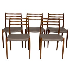 Set of Five Rosewood Dining Chairs by Niels Otto Moller Model 78