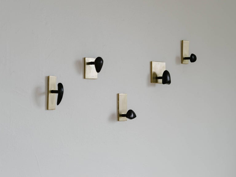Set of Five Sculptural Tallomet Coat Hooks in Solid Brass In New Condition For Sale In Portland, OR