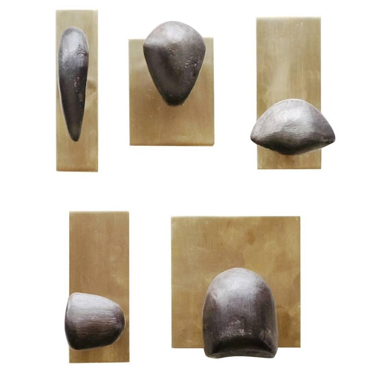 Set of Five Sculptural Tallomet Coat Hooks in Solid Brass For Sale