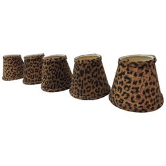 Set of Five Small Candelabras Leopards Cotton Fabric Woven Lamp Shades