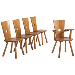 Set of Five Solid Oak Dining Chairs