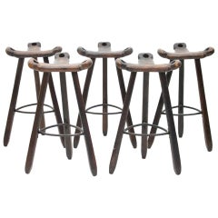 Set of Five Spanish Brutalist Bar Stools in Solid Wood, 1960s