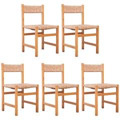 Set of Five Spanish Formalist of Wood Rattan Chairs, circa 1950