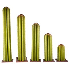 Set of Five Spanish Painted Iron Cactus Statues