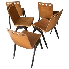 Set of Five Stackable Industrial Chairs in the Spirit of Jean Prouvé France 1950