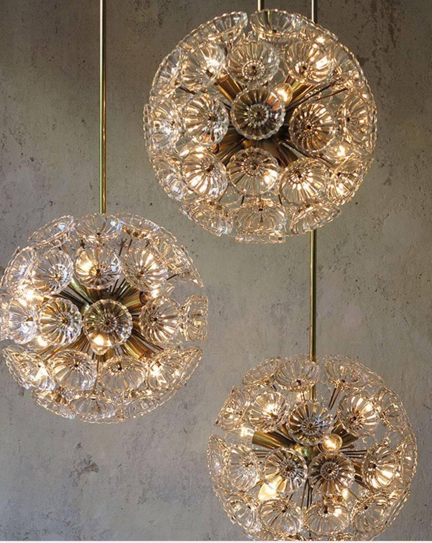 Set of Five Doria Brass Light Fixtures, 4 Wall Lights and 1 Chandelier, 1960