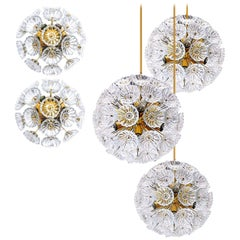 Set of Five Starburst Flower Sputniks, Two Wall Lights and Three Chandeliers