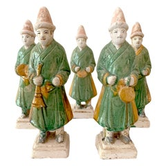 Set of Five Stoneware Tomb Figurines of Musician Ming Dynasty