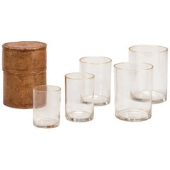 Set of Five Swedish Drinking Glasses Within a Cylindrical Leather Case