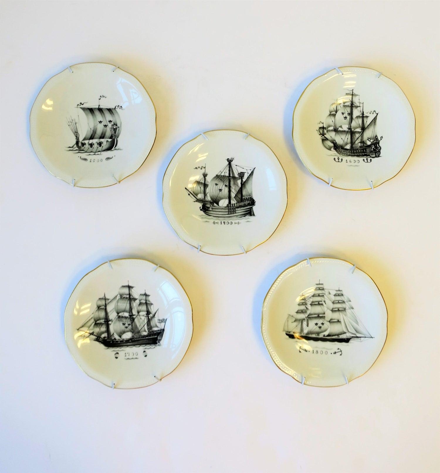 Set Of Five Swedish Rörstrand Nautical Black And White Porcelain