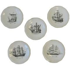 Set of 5 Swedish Rörstrand Nautical Black and White Porcelain Plates