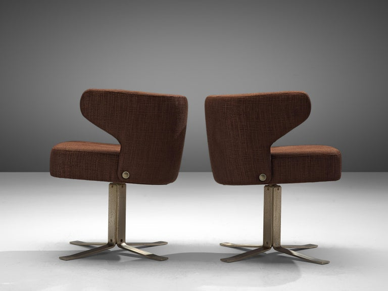 Mid-Century Modern Set of Five Swivel 'Poney' Armchairs by Giulio Moscatelli For Sale