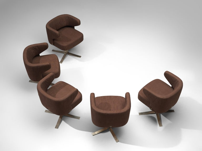 Italian Set of Five Swivel 'Poney' Armchairs by Giulio Moscatelli For Sale
