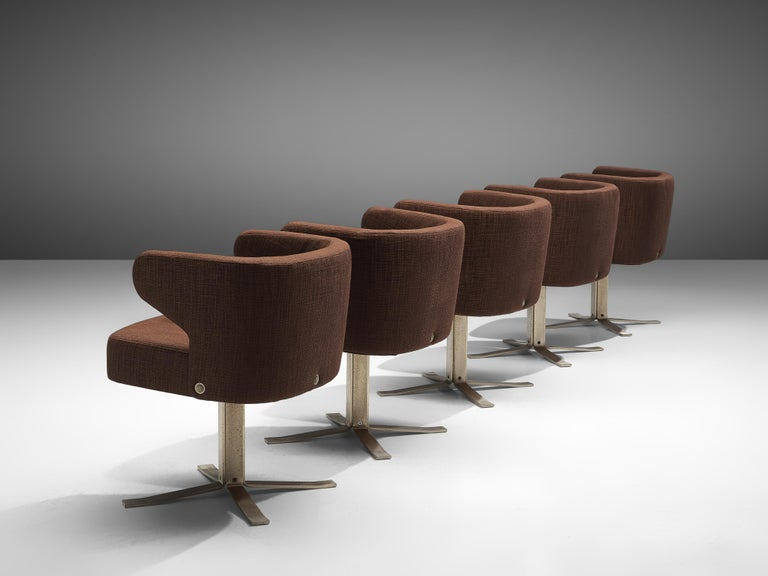 Set of Five Swivel 'Poney' Armchairs by Giulio Moscatelli In Good Condition For Sale In Waalwijk, NL