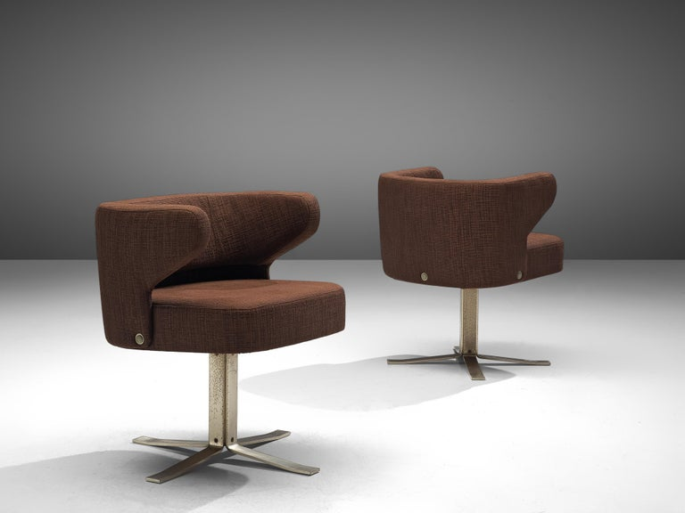 Metal Set of Five Swivel 'Poney' Armchairs by Giulio Moscatelli For Sale