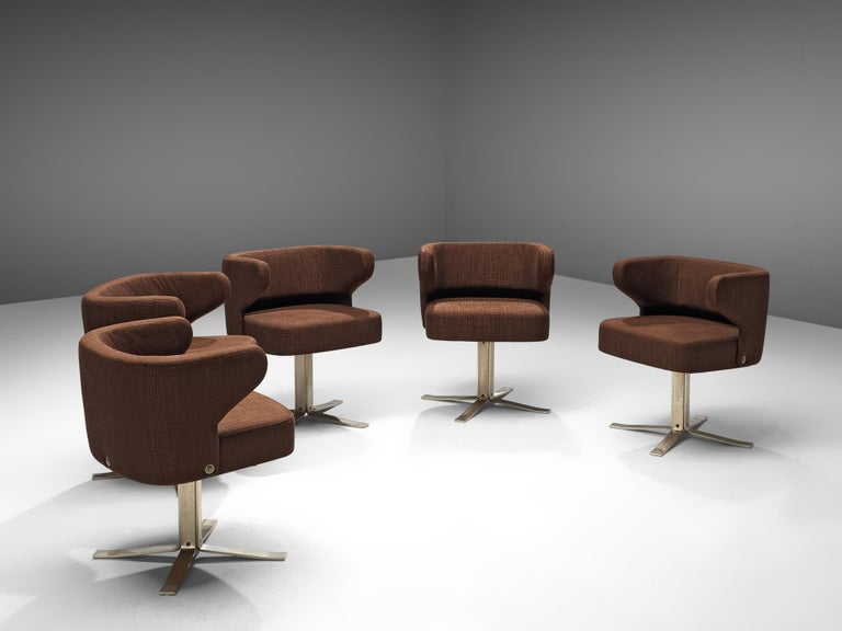 Set of Five Swivel 'Poney' Armchairs by Giulio Moscatelli For Sale 1