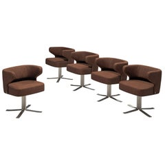Set of Five Swivel 'Poney' Armchairs by Giulio Moscatelli