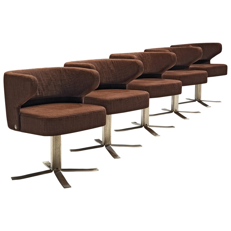 Set of Five Swivel 'Poney' Armchairs by Giulio Moscatelli For Sale