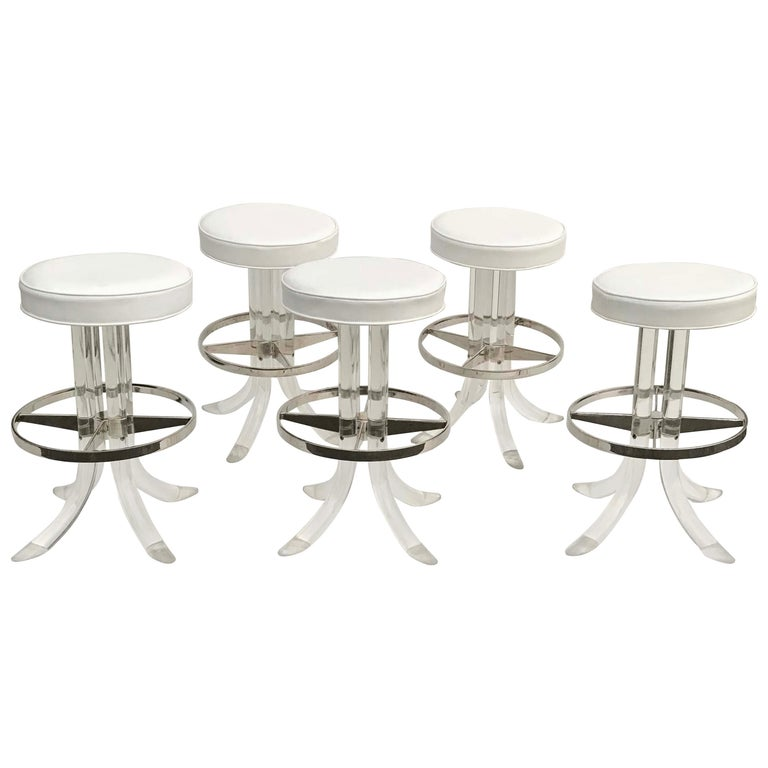 Set of Five Swiveling Lucite Bar Stool For Sale