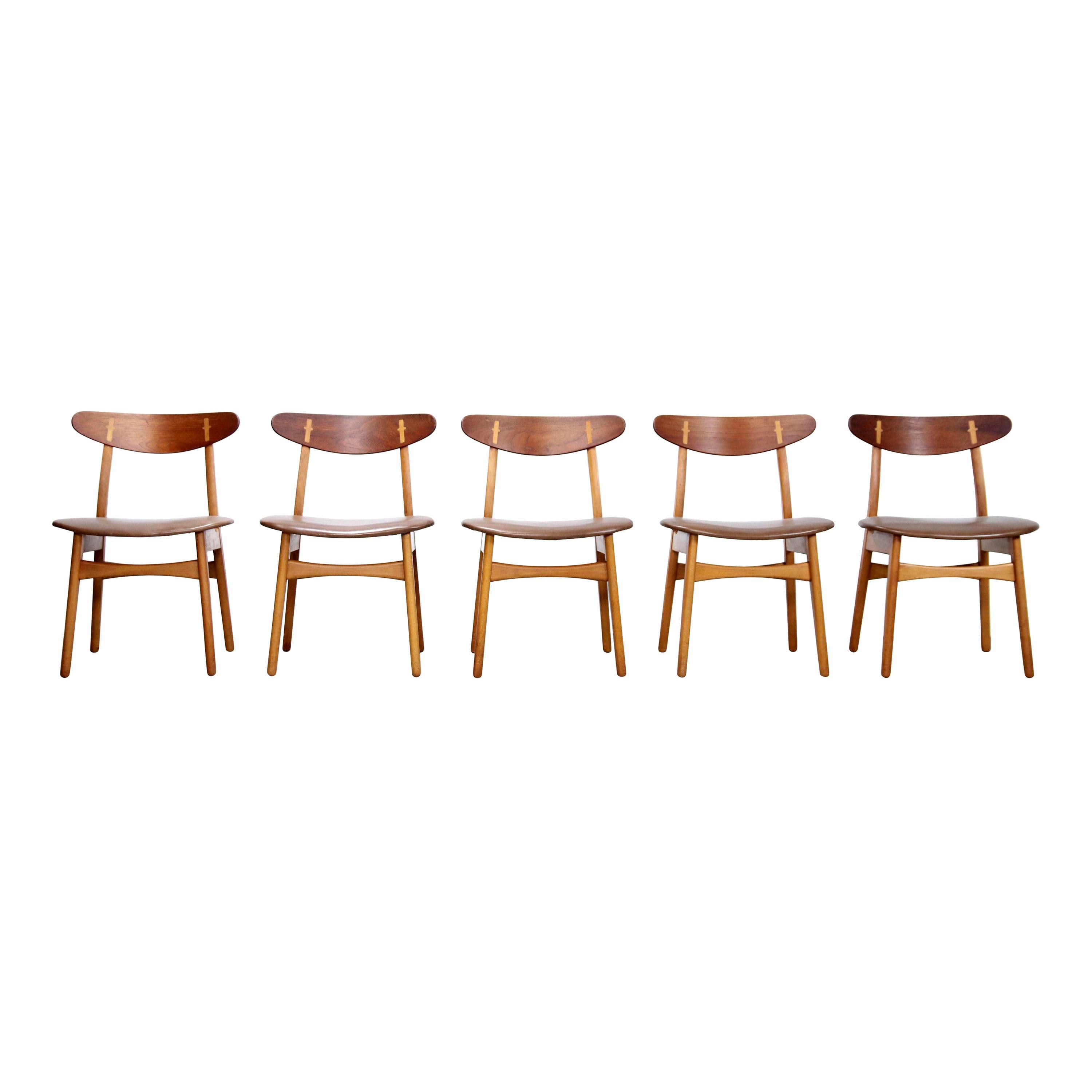 Set of Five Teak and Leather Hans Wegner CH30 Dining Chairs by Carl Hansen, 1950