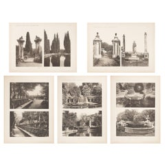 Set of Five Unframed Architectural Prints, Italy, Early 1900s