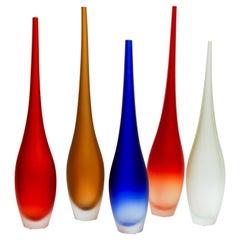 Set mit fünf Vasen aus Murano-Glas signiert A. Dona