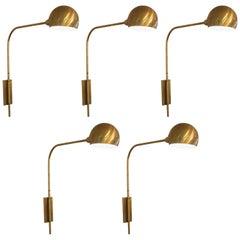 Set of Five Vintage Brass Sconces
