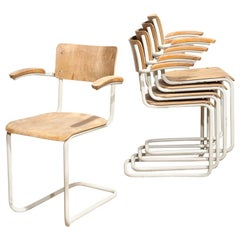 Set of Five Vintage Dutch Modernist Dining Chairs for Gispen