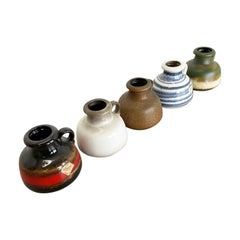 "Set of Five Vintage Pottery Fat Lava ""493-10"" Vases Made by Scheurich, Germany"