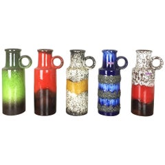 Set of Five Vintage Pottery Fat Lava Vases Made by Scheurich, Germany, 1970s