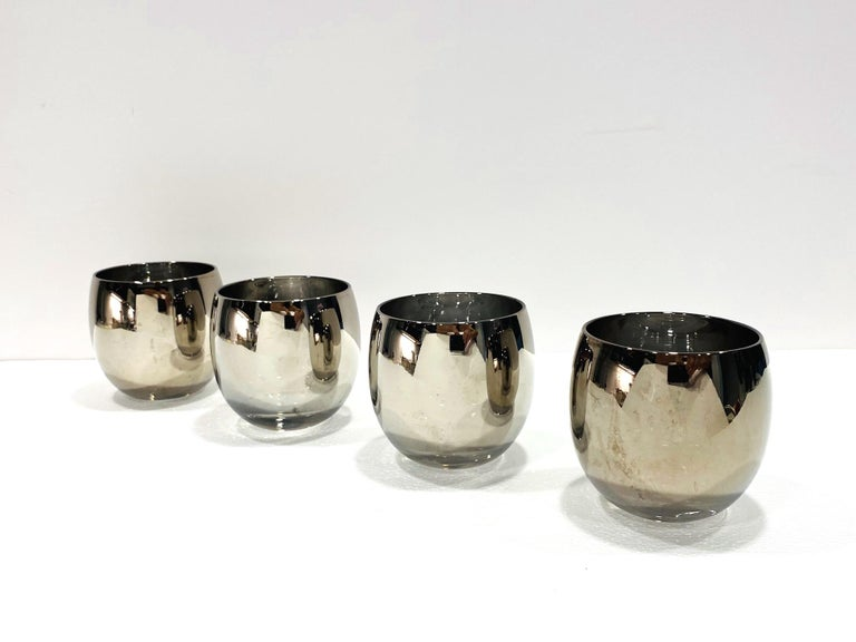 Set of Five Vintage Round Barware Whiskey Glasses with Silver Overlay, c. 1960s For Sale 2