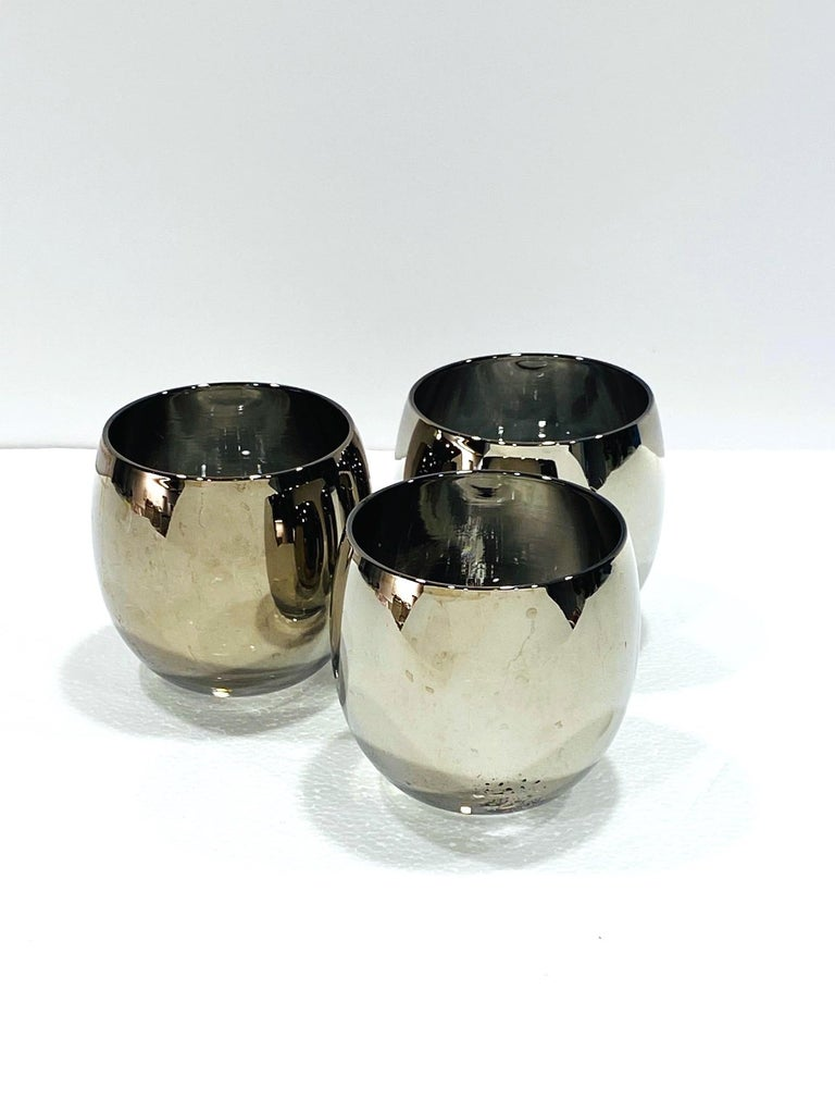 Set of Five Vintage Round Barware Whiskey Glasses with Silver Overlay, c. 1960s For Sale 3