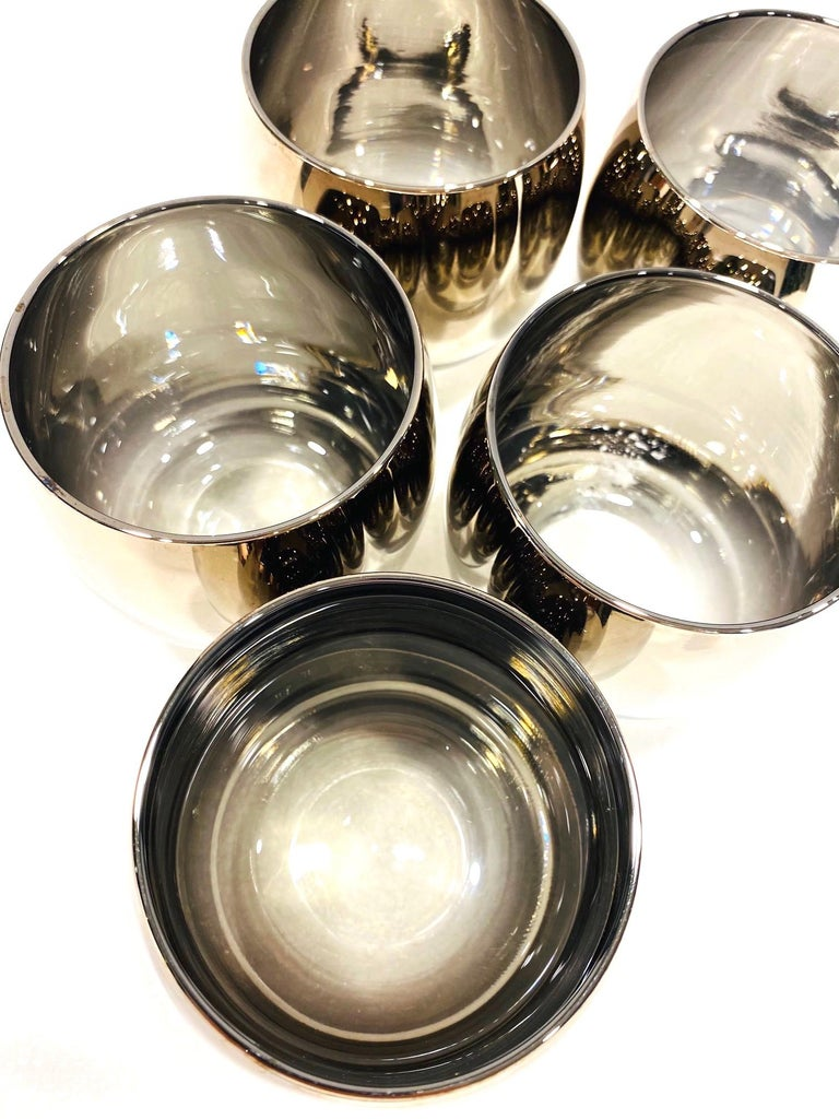Set of Five Vintage Round Barware Whiskey Glasses with Silver Overlay, c. 1960s For Sale 4