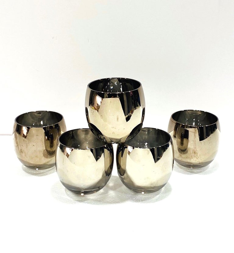 Set of Five Vintage Round Barware Whiskey Glasses with Silver Overlay, c. 1960s For Sale 6