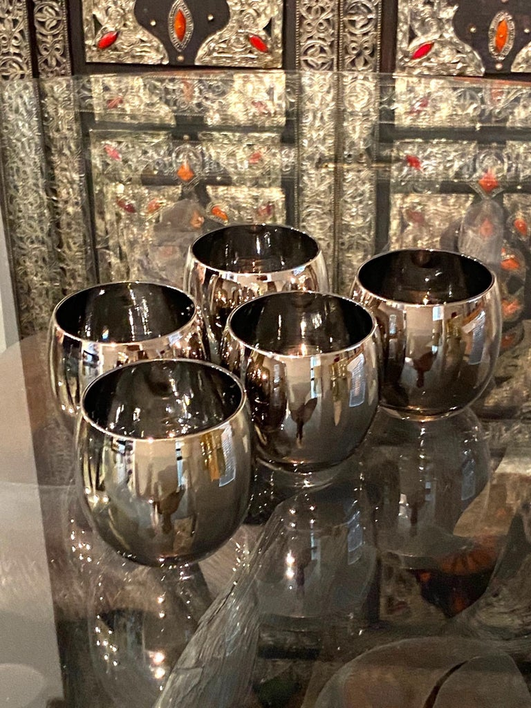 Set of Five Vintage Round Barware Whiskey Glasses with Silver Overlay, c. 1960s In Good Condition For Sale In Fort Lauderdale, FL