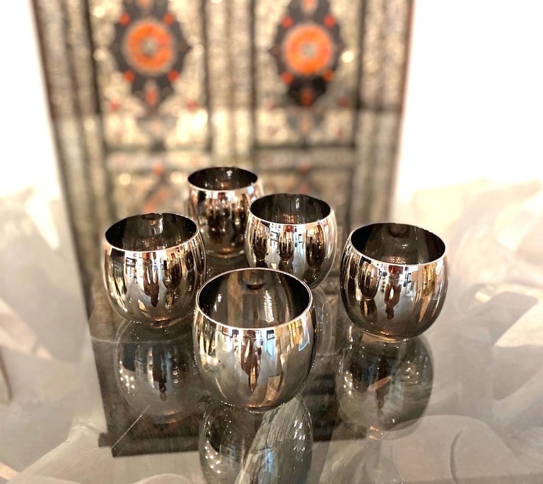 Set of Five Vintage Round Barware Whiskey Glasses with Silver Overlay, c. 1960s For Sale 1