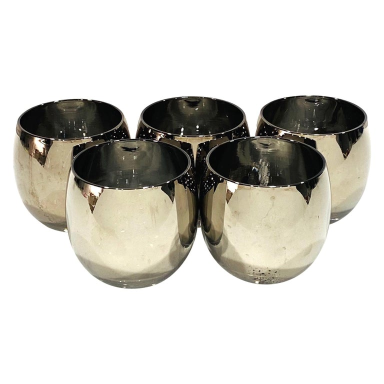 Set of Five Vintage Round Barware Whiskey Glasses with Silver Overlay, c. 1960s For Sale